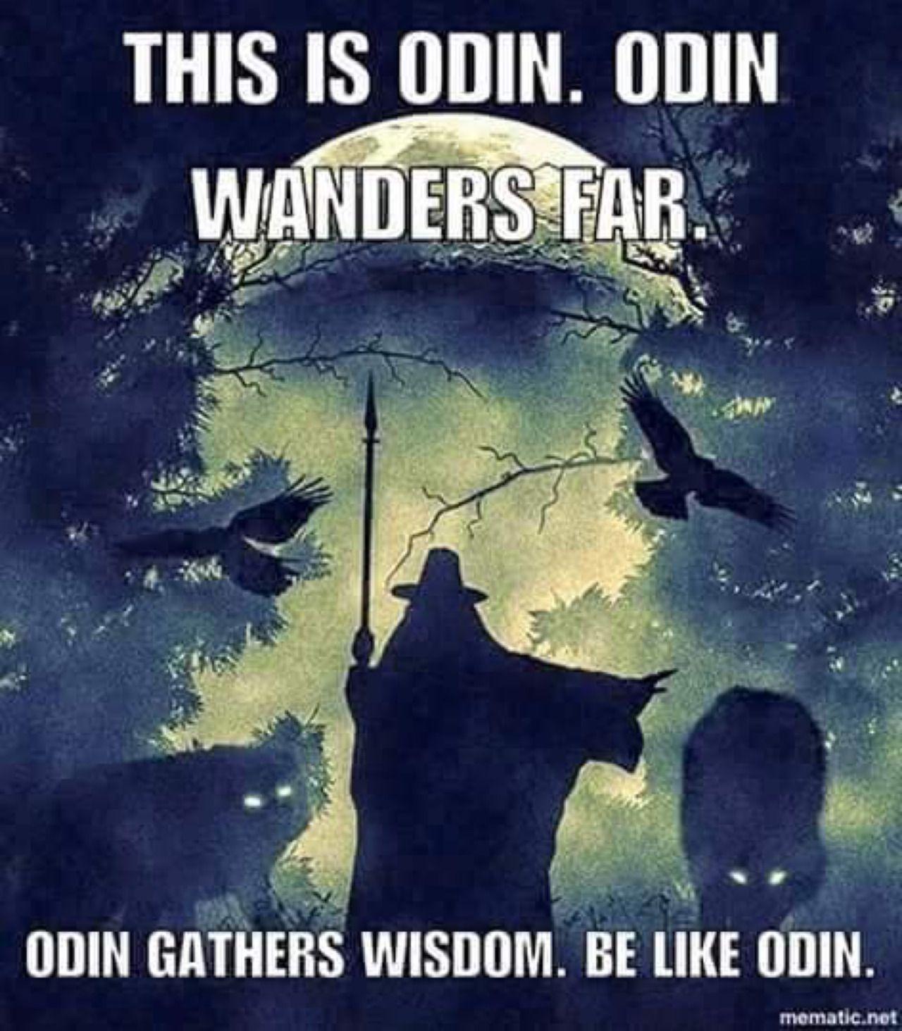 This is Odin. Odin wanders far. Odin gathers wisdom. Be like Odin.