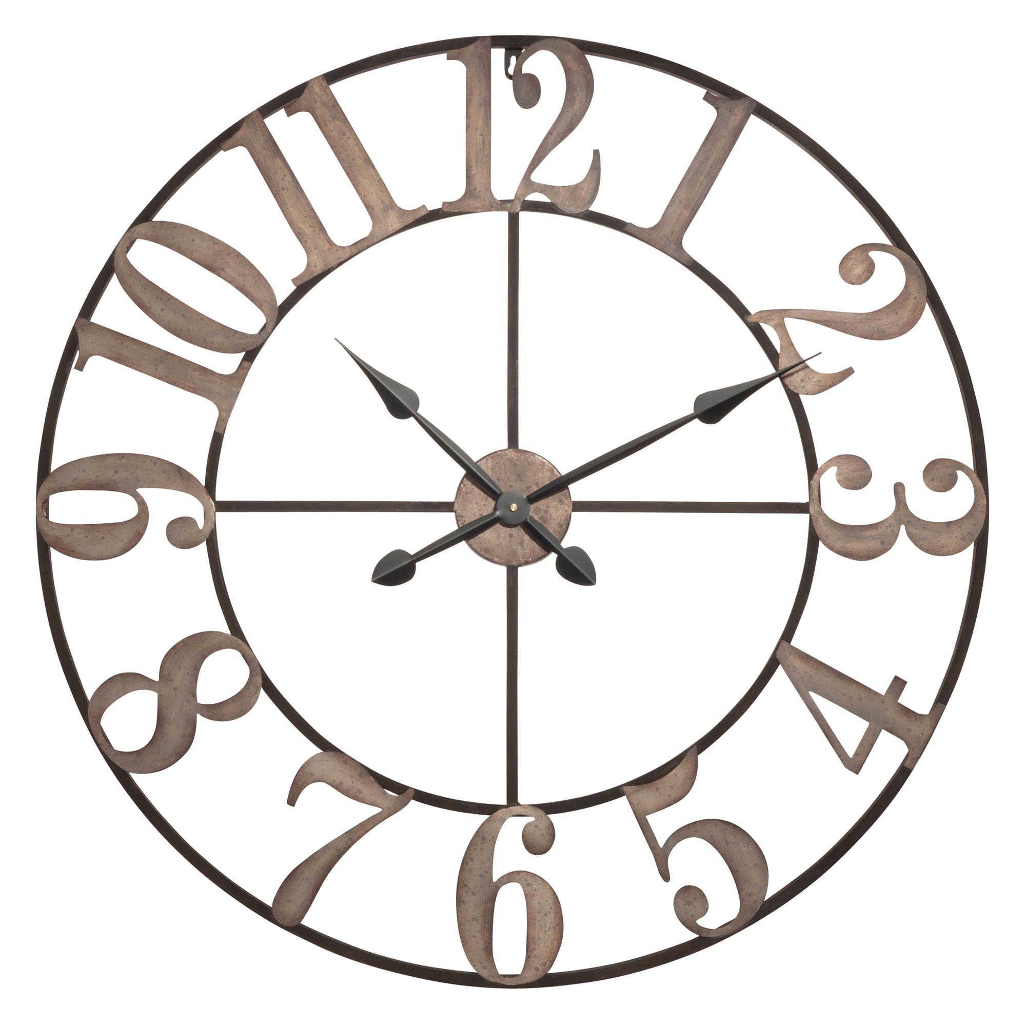 Horloge En Métal Noir Effet Blanchi D80 Maison Metal