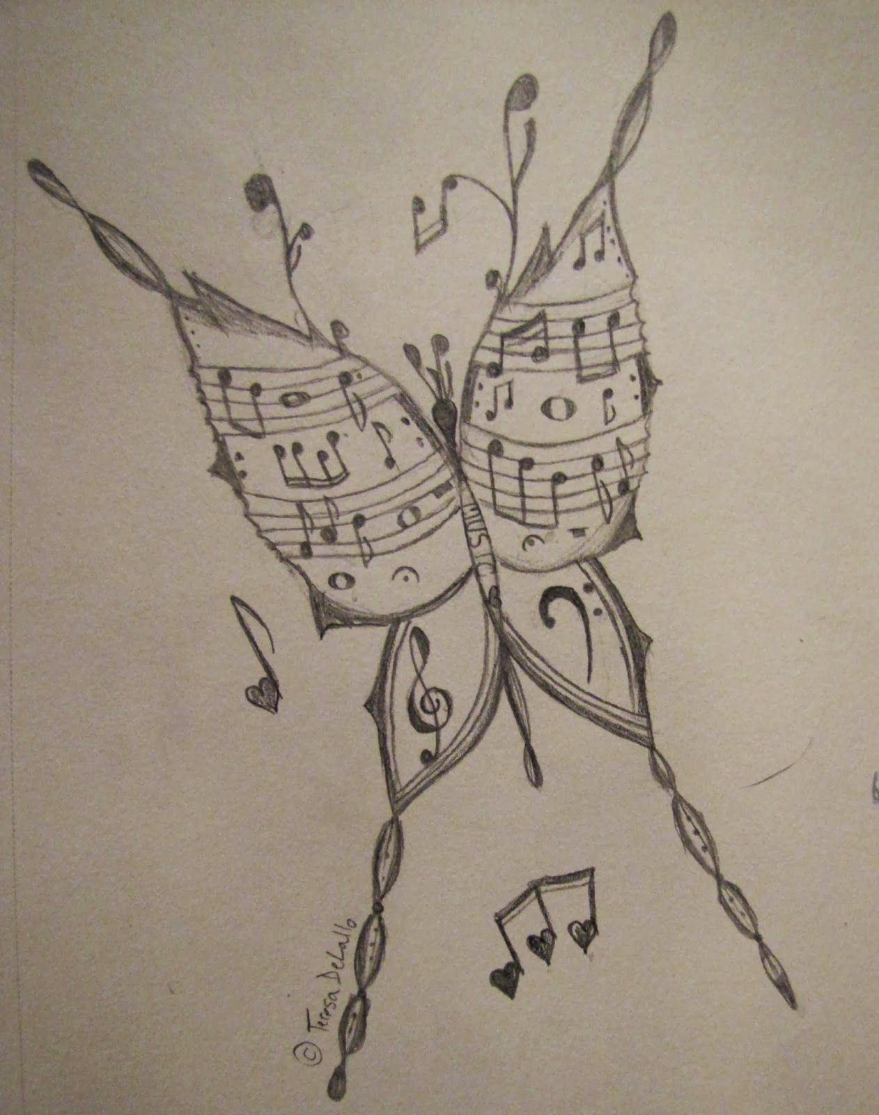 Musical Butterfly My drawing Music drawings