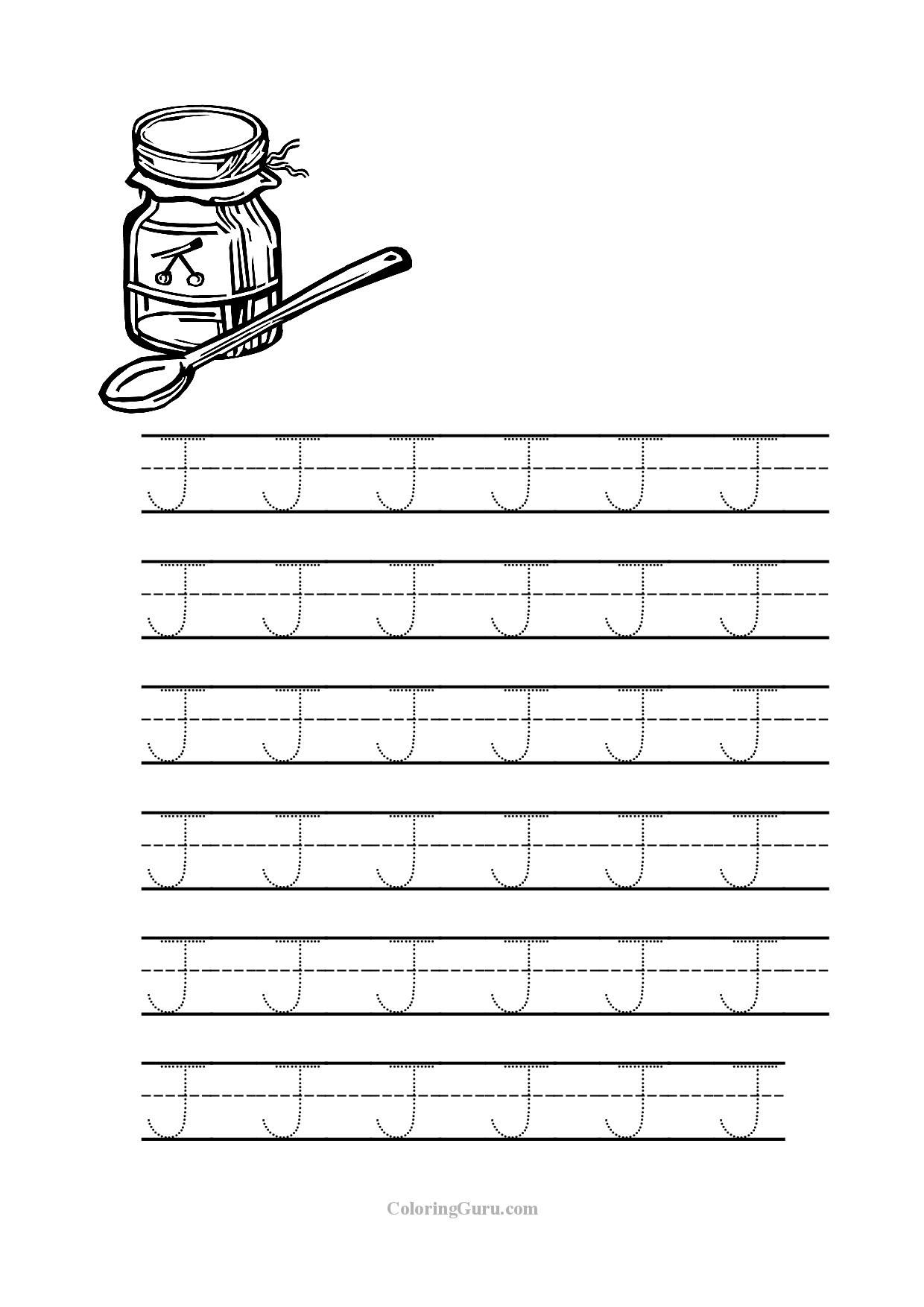 Free Printable Tracing letter J worksheets for preschool