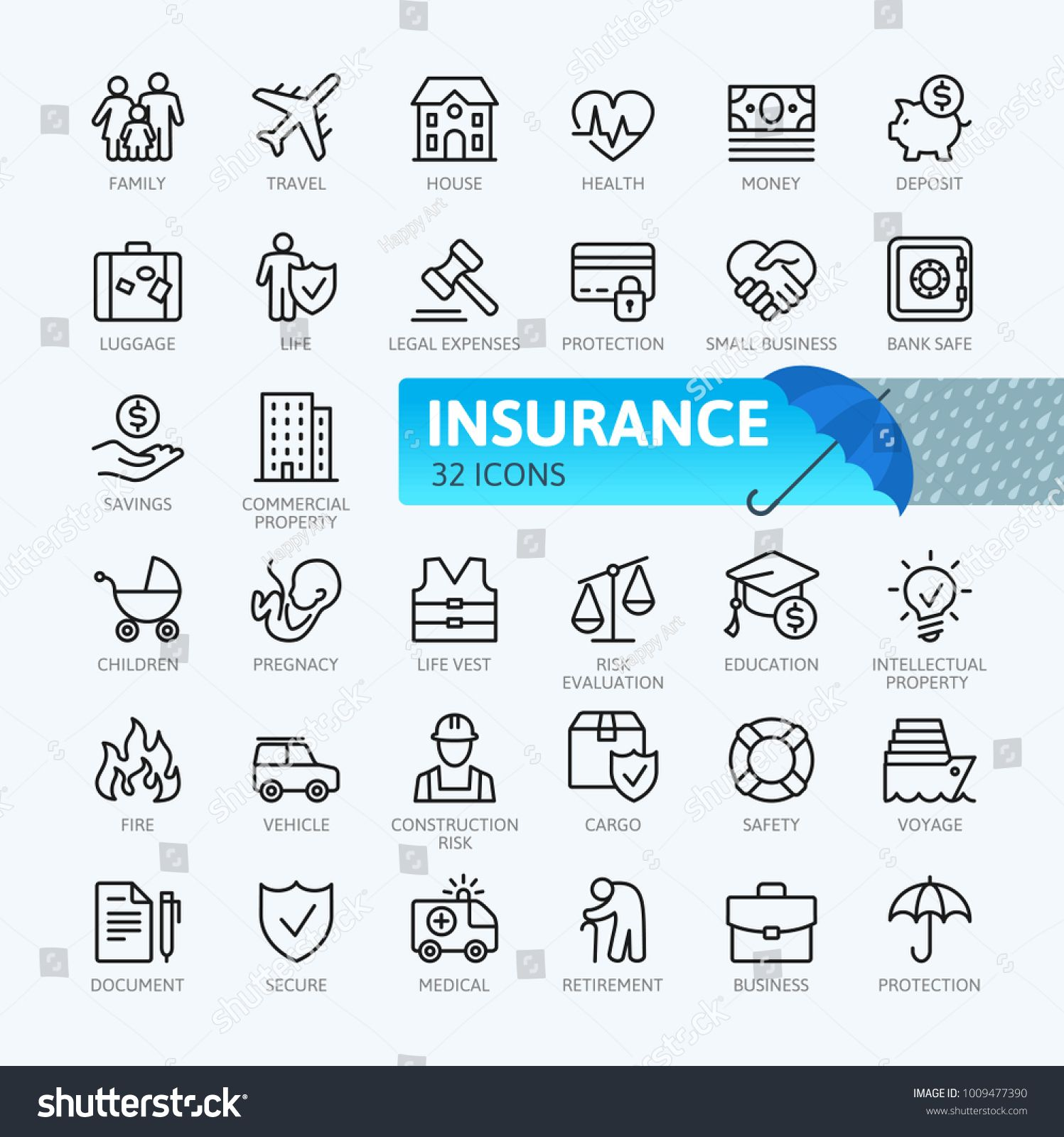 Insurance Elements Minimal Thin Line Web Icon Set Outline Icons Collection Simple Vector Illustration Line Web Icon Thi Line Web Web Icons Icon Collection