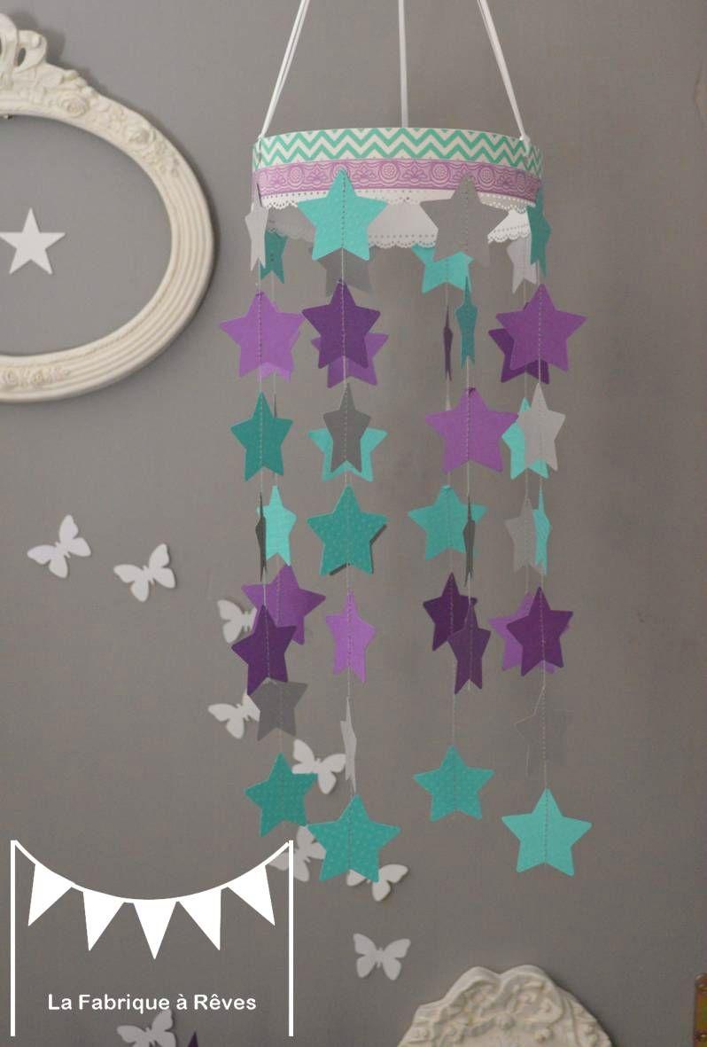 mobile étoiles turquoise violet mauve gris décoration chambre enfant ...