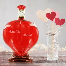 Wein In Einer Herzflasche Personalisiert Mit Den Namen Vom
