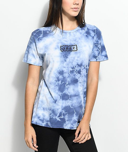772b49378394ad Obey Labour Of Love Chain Navy Tie Dye T-Shirt