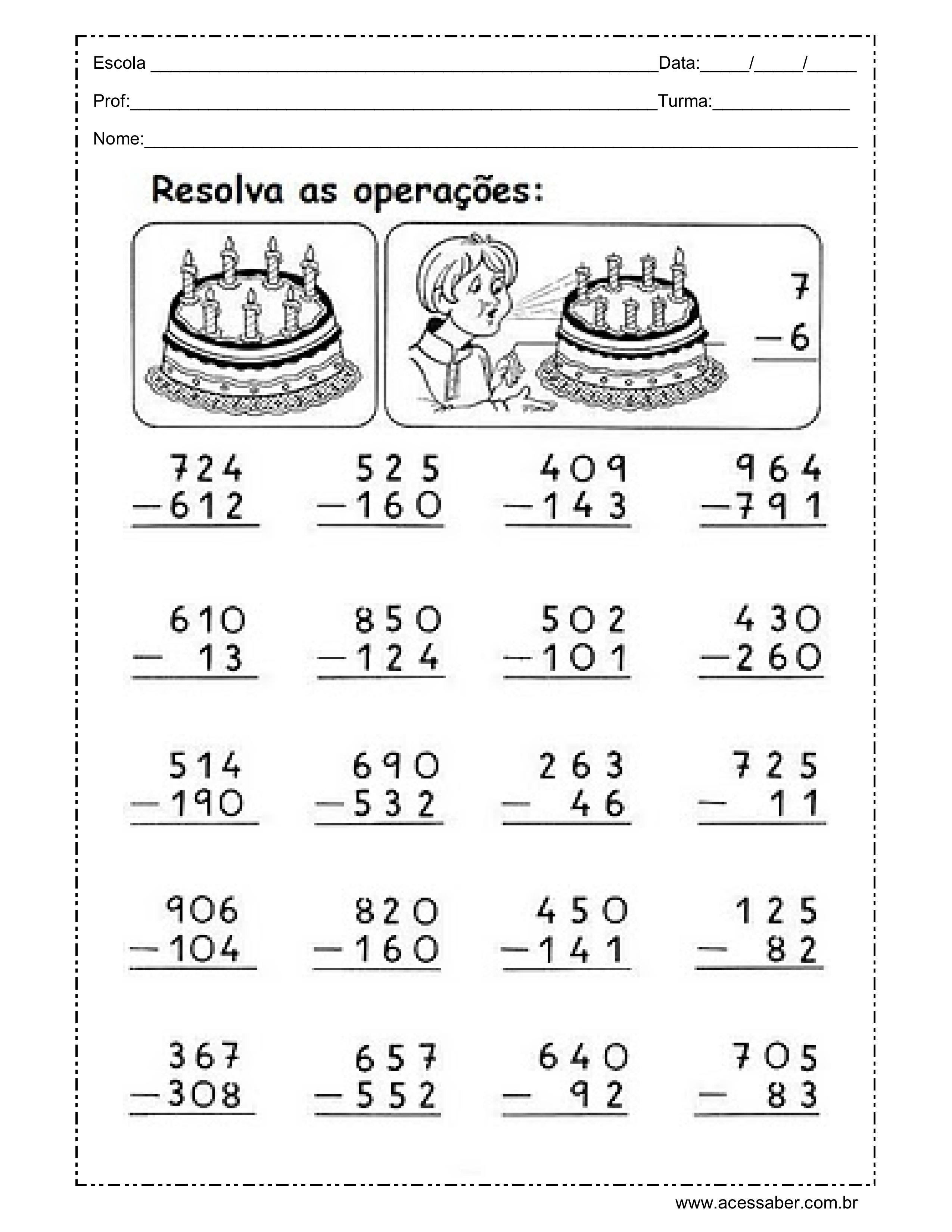 Atividades De Matematica Com As Quatro Operacoes Para O 3oo Ano Ano