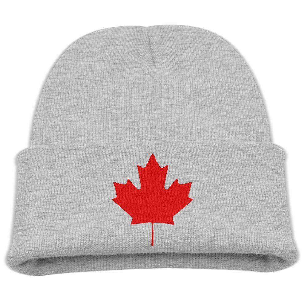 Canada Maple Leaf Canadian Flag Unisex Kids Warm Winter Hat Knit Beanie  Skull Cap Cuff Beanie c3c8546775b