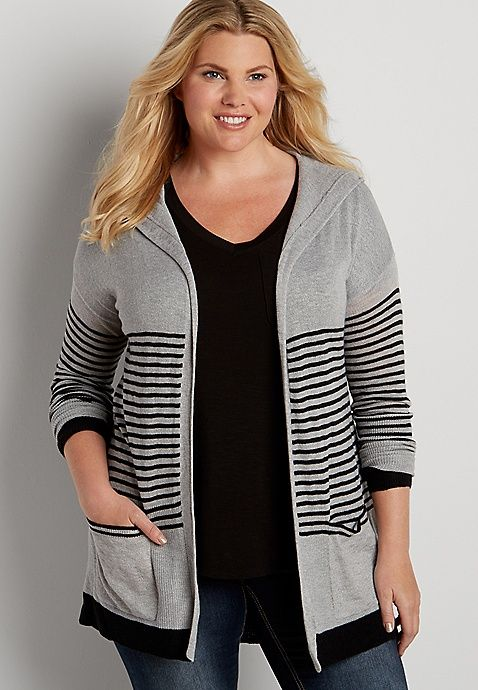 plus size lightweight hooded cardigan with stripes | maurices ...
