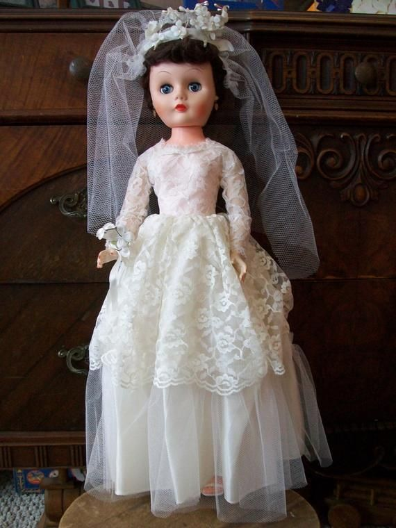 Beautiful Vintage Bonnie Bride Doll by Allied, 1960's 24 Doll in Great Condition with Box, All Original, Bridal Wedding Doll #bridedolls