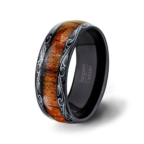 Mens Wedding Band Black Tungsten Ring Dome Style With Unique Pattern Edge And Inner Wood 8mm