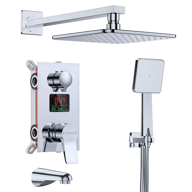 Derpras Luxury Shower System With Temperature Display Wall Mount