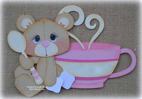 Sitting Bear with  a Cup Premade Scrapbooking by MyCraftopia