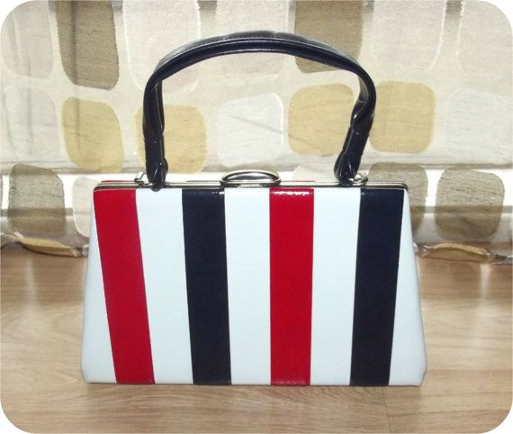 Vintage 60s Red White Blue Mod Colorblock Purse Handbag Kelly Bag By Intrigueu4ever 45 99