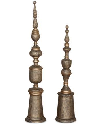 Uttermost Nalini Antique Gold Finials Set Of 2 Reviews Macy S Finials Wood Charcoal Antiques