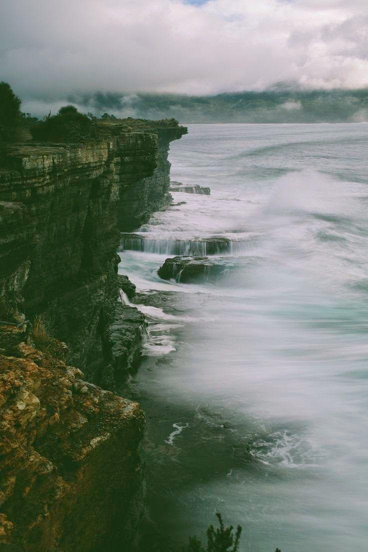 Ocean Waves. Fog.