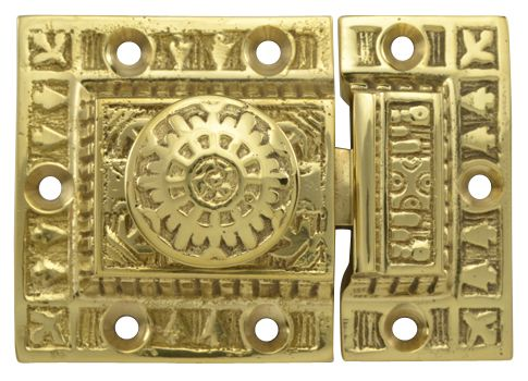 3 Inch Long Windsor Pattern Lost Wax Cast Cabinet Latch (Polished Brass Finish).