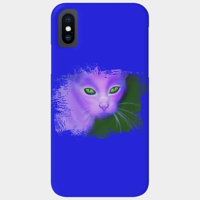 Purple Creepy Psychedelic Cat With Green Evil Eyes Phone