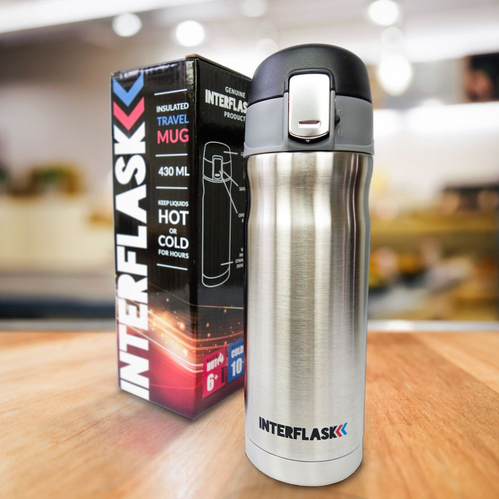 Interflask travel mug - a perfect gift for hikers, coffee lovers, campers, cyclists, runners ...