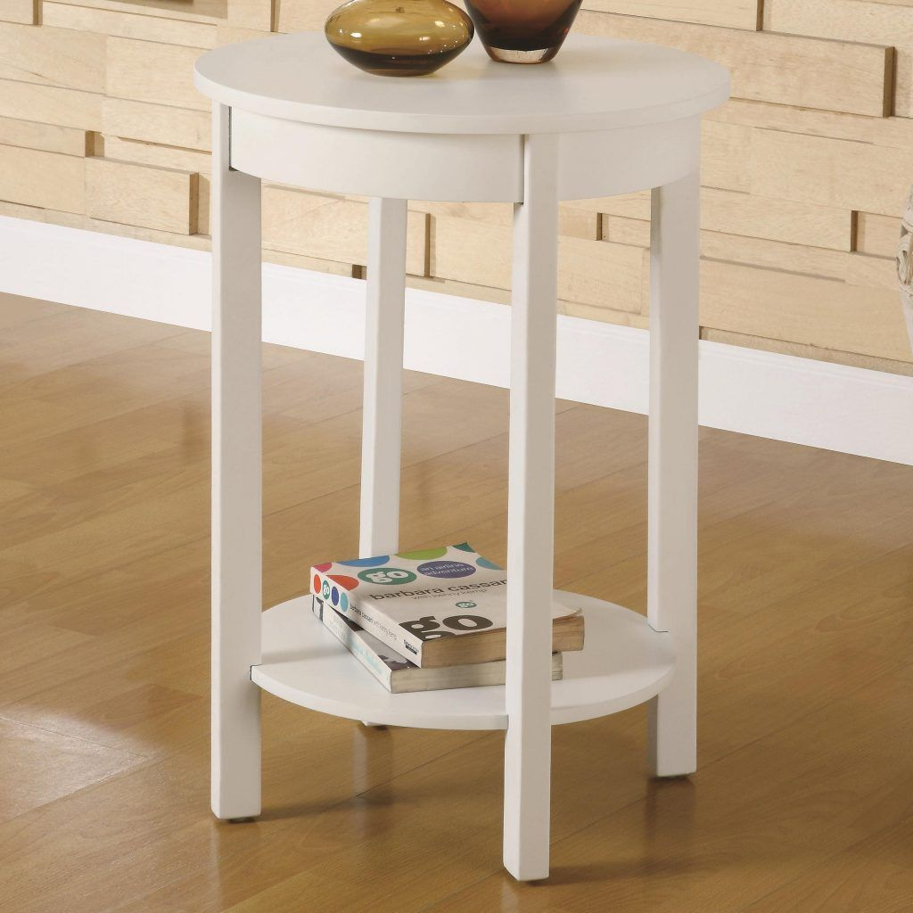 Interior Rounded White Wooden Night Stand With Bottom Shelf