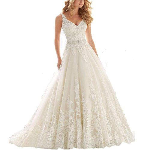 Yinyyinhs Womens Beaded V Neck Lace Appliques Wedding Dress Size 14 ...