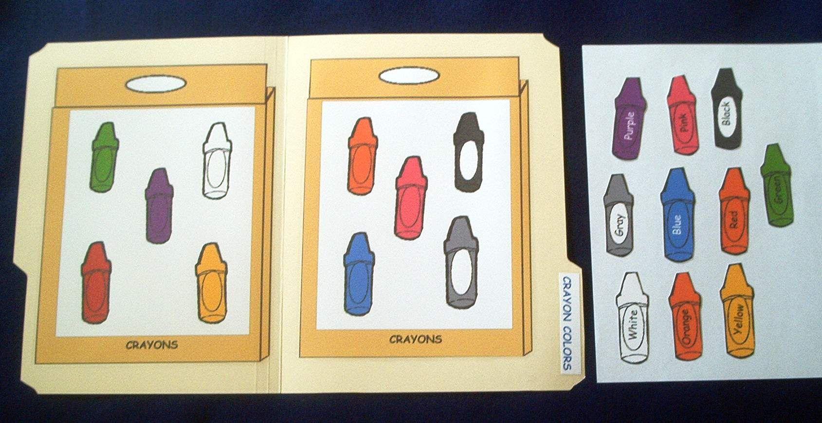 Crayon Color Match File Folder Game