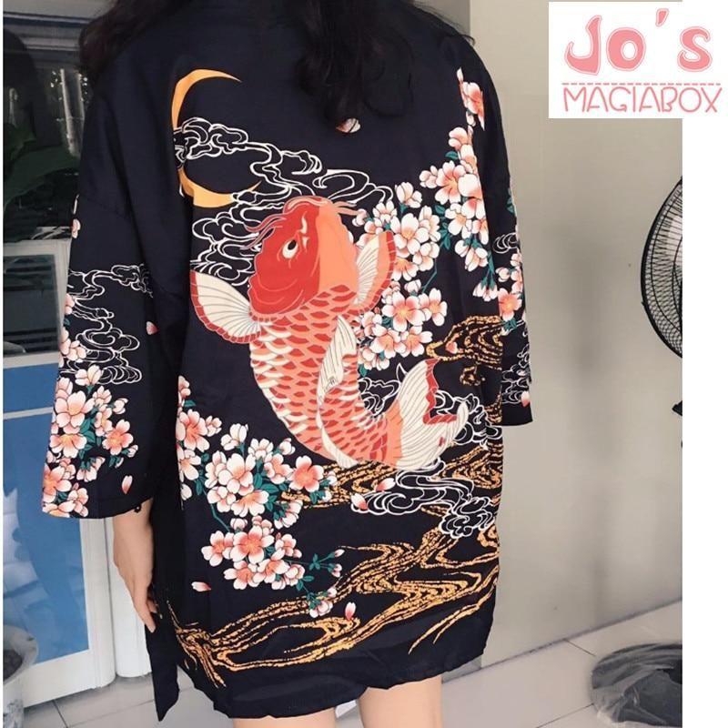 2d59882f985 2017 Summer Top Fish Japanese Kimono Cardigan Female Blouse Women Shirt Jiu  Jitsu Harajuku Kimono Floral