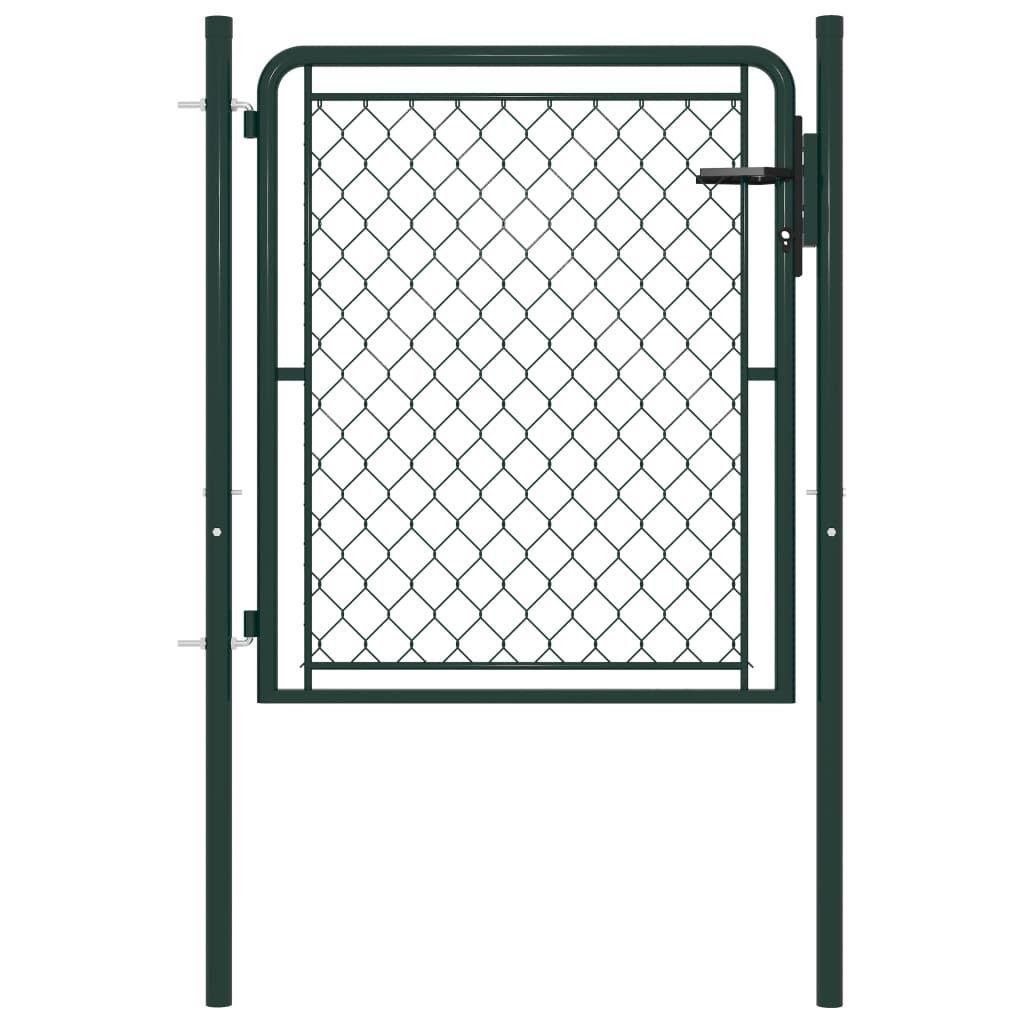 vidaXL garden gate steel 100 x 75 cm green