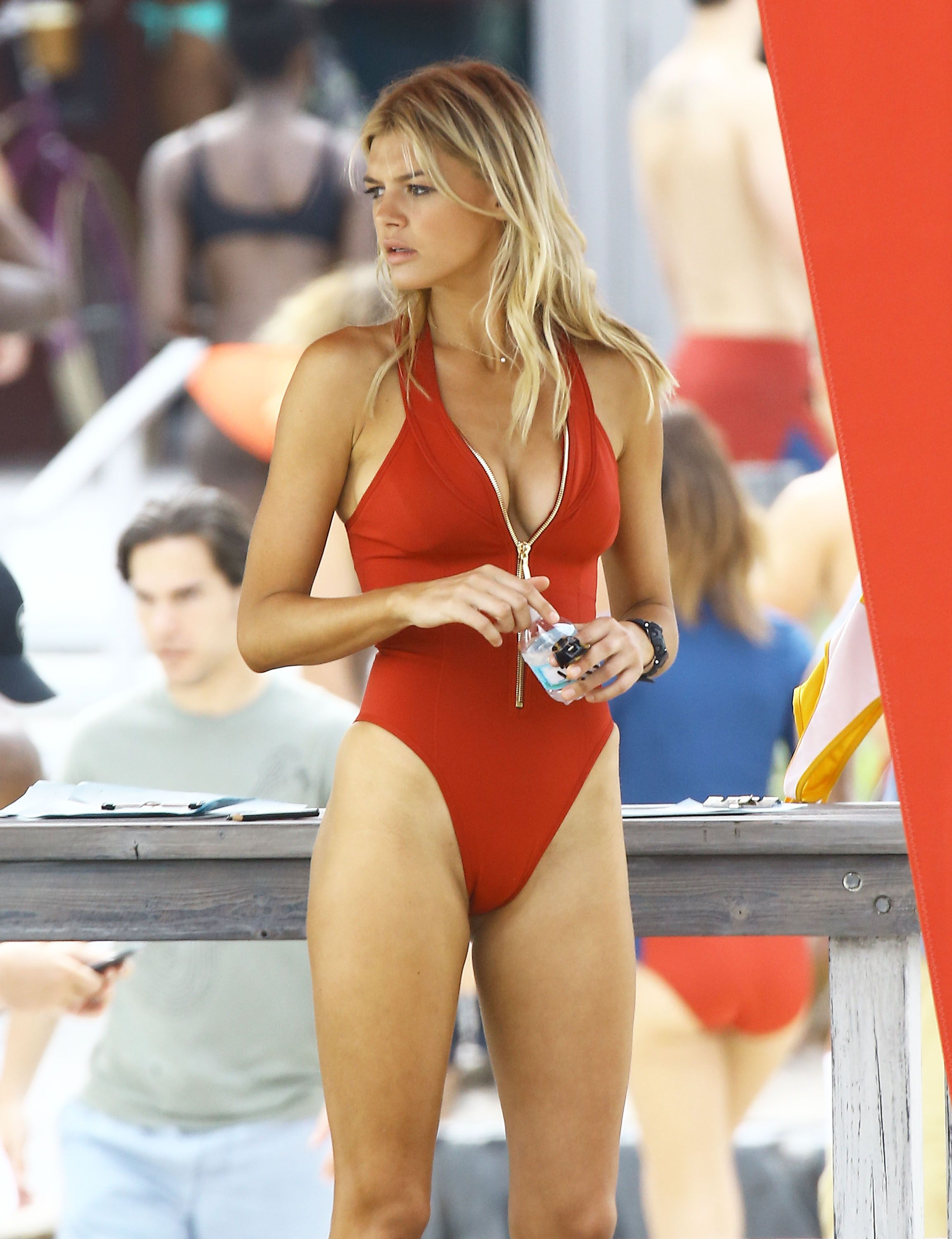 7bf3b469f8bfd Kelly Rohrbach - Red Swimsuit - On set of Baywatch - March 4th 2016