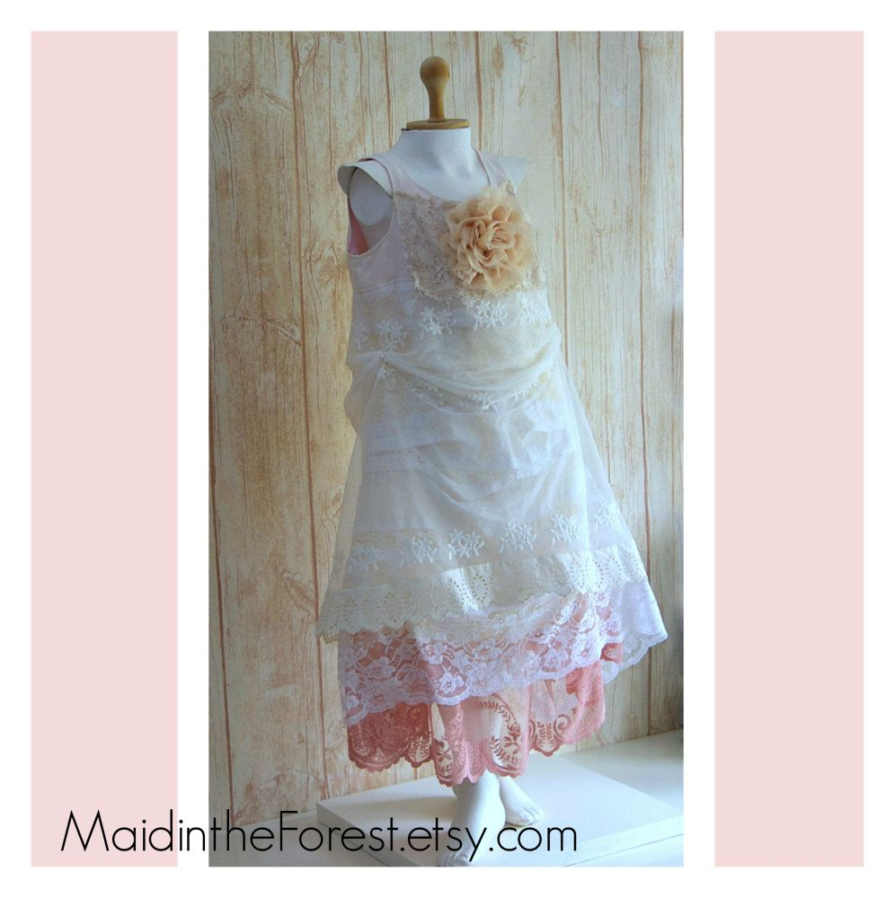 Rustic boho country flower girl dress gypsy wedding mori girl