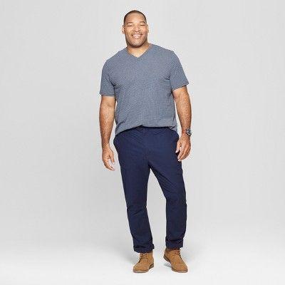 79ce23b1b2fa Men's Big & Tall Striped Standard Fit Short Sleeve Novelty V-Neck T-Shirt -  Goodfellow & Co Subdued Blue 5XBT