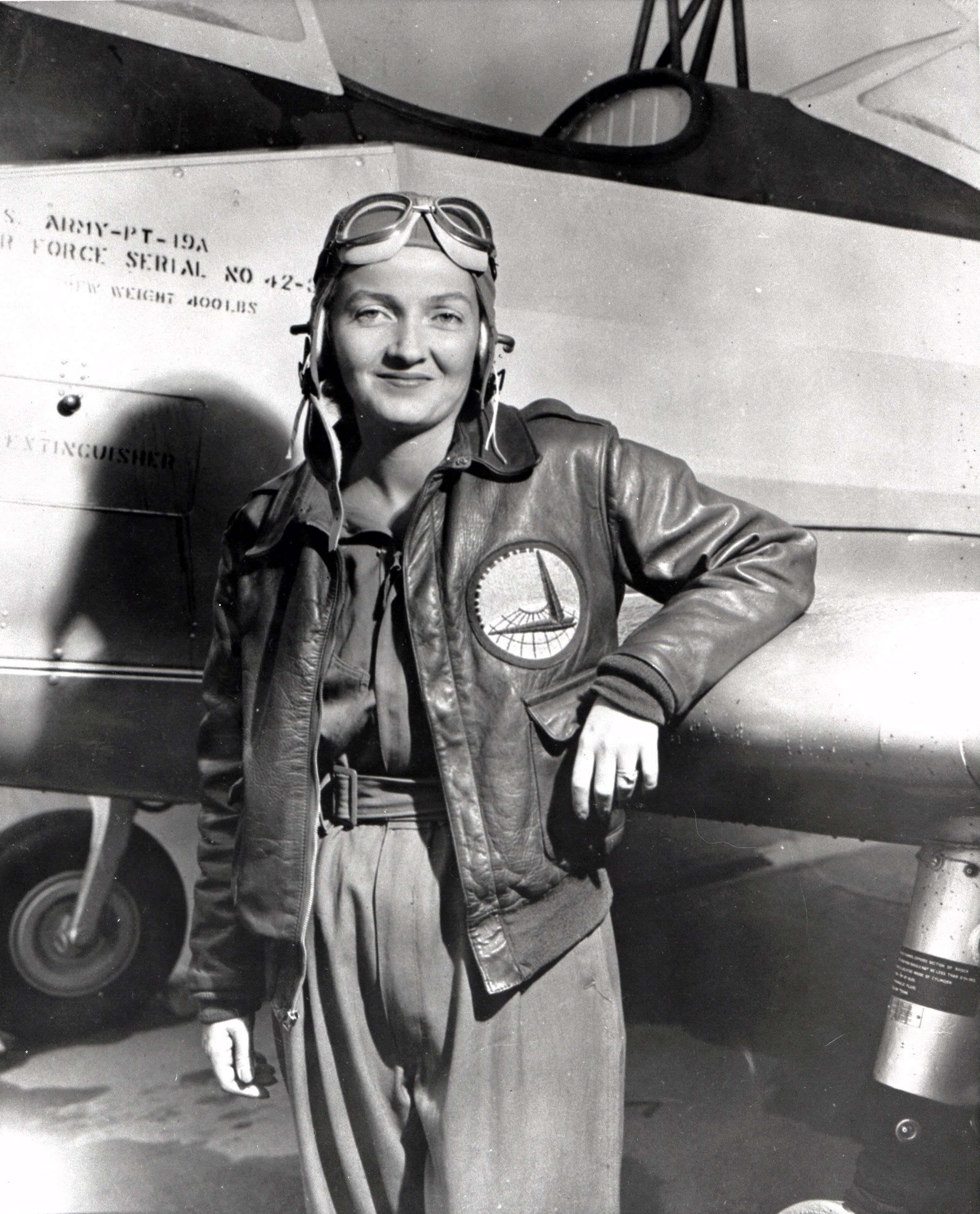 Nancy Harkness Love posing in front of a PT-19A trainer aircraft, 1942 or later Source National Air and Space Museum, Smithsonian Institution Added By David Stubblebine