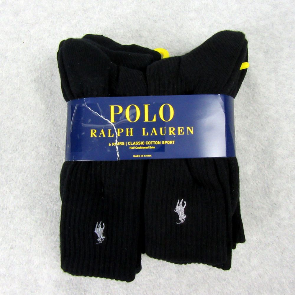 156f906b9b53 Ralph Lauren 6 Pair Classic Cotton Sport Black Socks Half Cushioned Sole  New #fashion #clothing #shoes #accessories #mensclothing #socks (ebay link)