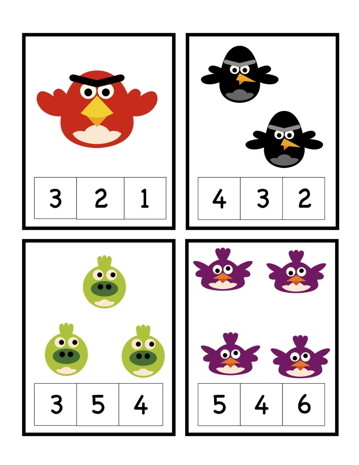 Preschool Printables Angry Bird Learns Numbers