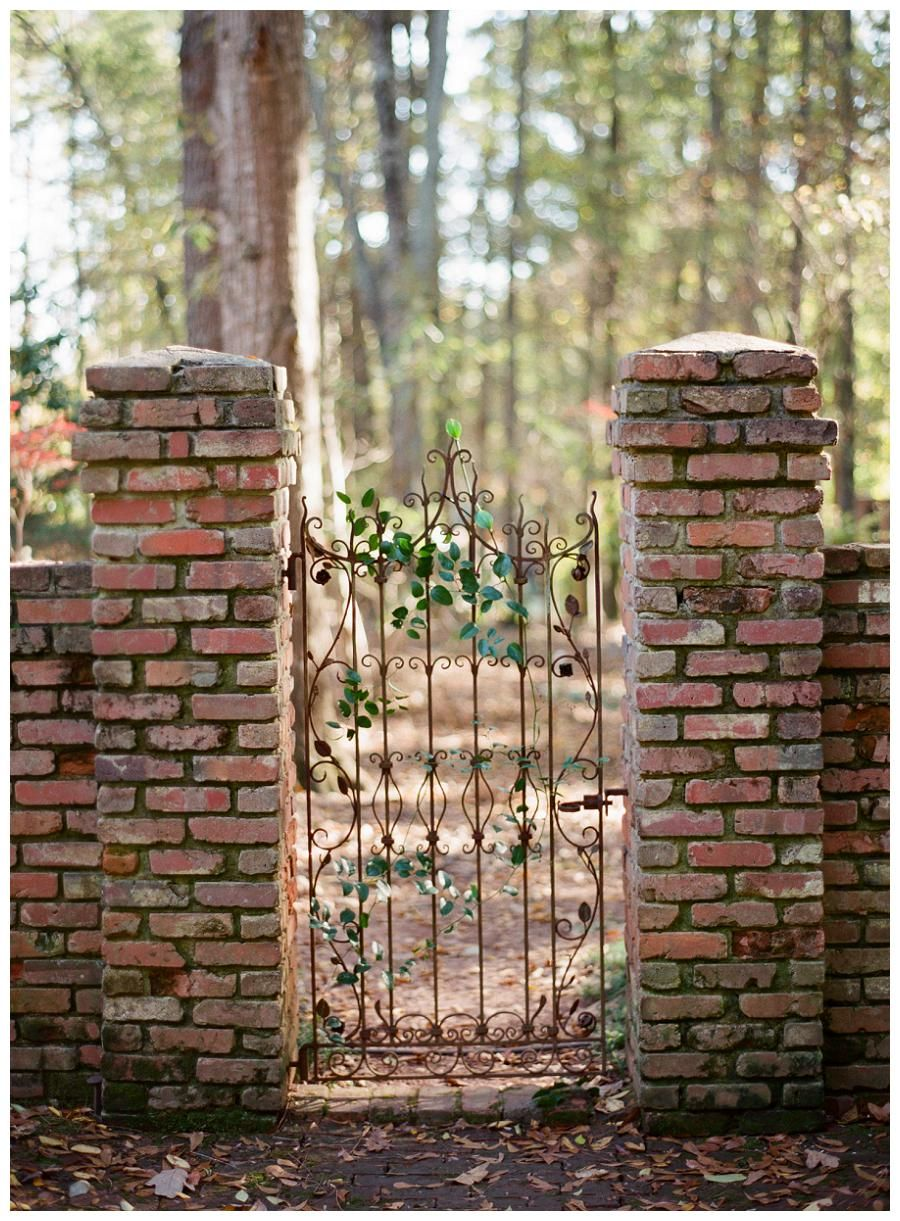 Brick and wrought iron gate at The Hill in Athens, GA