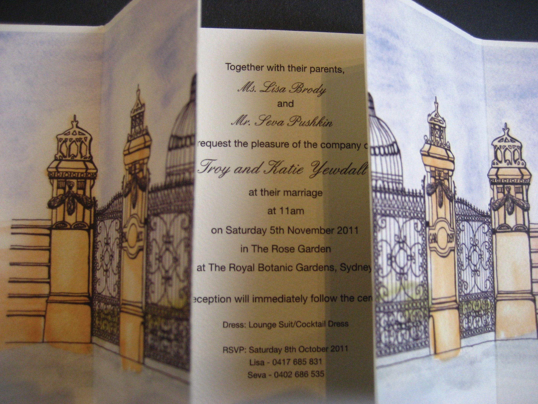 Wedding Invitation Royal Botanic Gardens Sydney by Create my Kaleidoscope (cmyk)