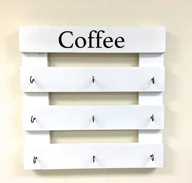 Coffee mug rack coffee cup display reclaimed wood kitchen | Etsy