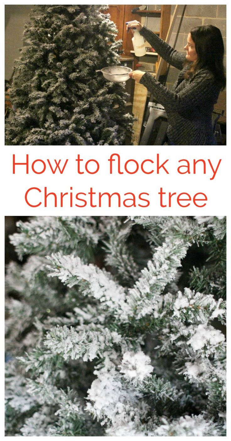 DIY Flocked Christmas Tree - Lovely Etc. #christmastree
