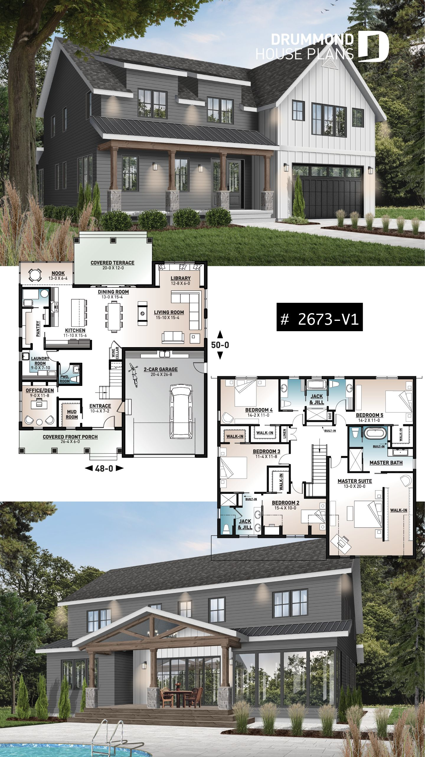 Modernes Bauernhaus 5 Schlafzimmer mit Garage   – Modern Farmhouse and Farmhouse Home Plans