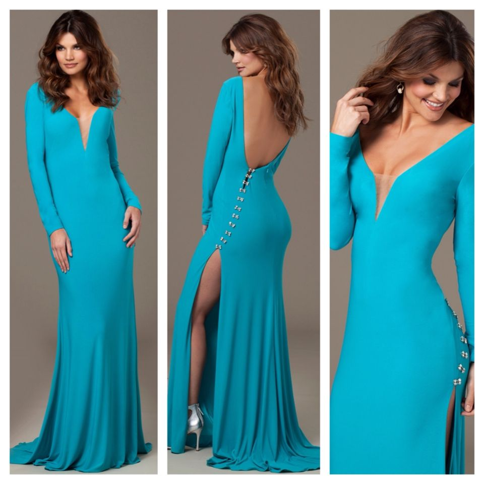 turquoise long sleeve gown and navy