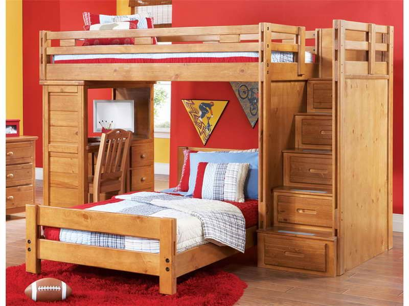 how to build a loft bed with desk underneath with red wall