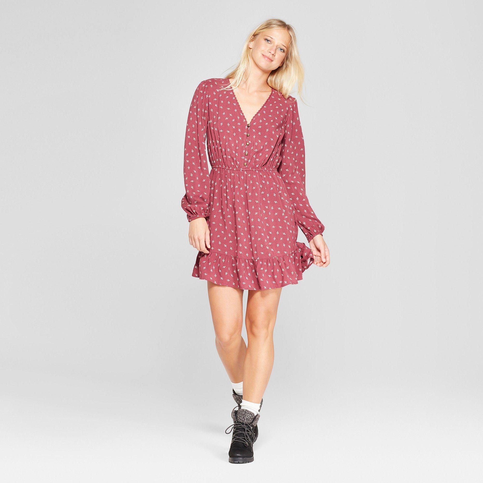 cd65c036bacf Women s Floral Print Long Sleeve Button Front Woven Dress - Xhilaration  Mauve (Pink) Xxl