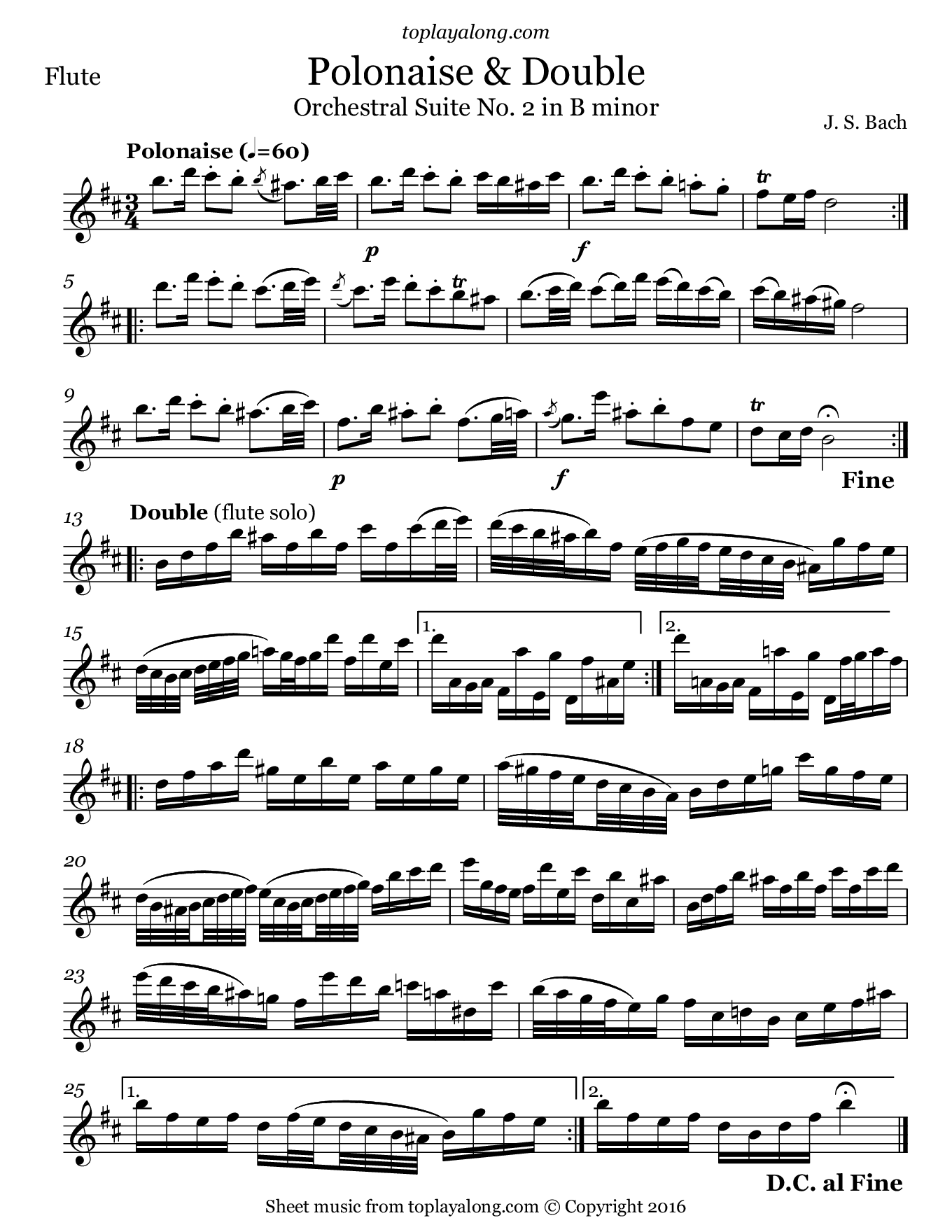 Orchestral Suite No  2 (V  Polonaise & Double) by J  S  Bach  Free