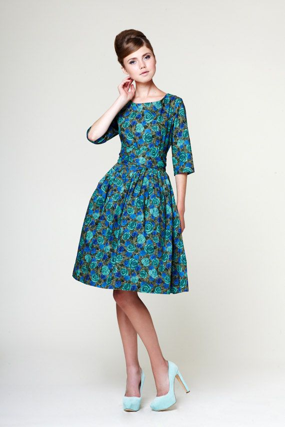 43a1df8d478 Beautiful 1950s green dress made of Liberty of London cotton fabric. This  dress will be custom made once you place an order based on your size and  fabric ...