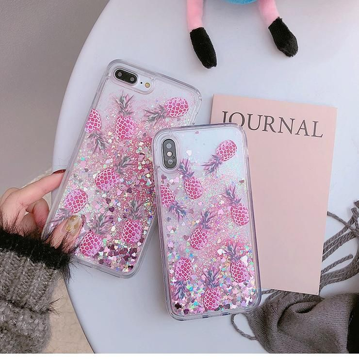 New Bling Glitter Dynamic Pineapple Liquid Quicksand Phone Back For iPhone  X 6 6 S 7 Case For iPhone 7 8 6S Plus Capa  phonecases  iphonecases  iphone  ... 85923a4aac54