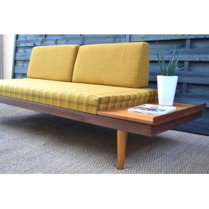 Daybed sofa in teak and yellow fabric, Ingmar RELLING - 1960s