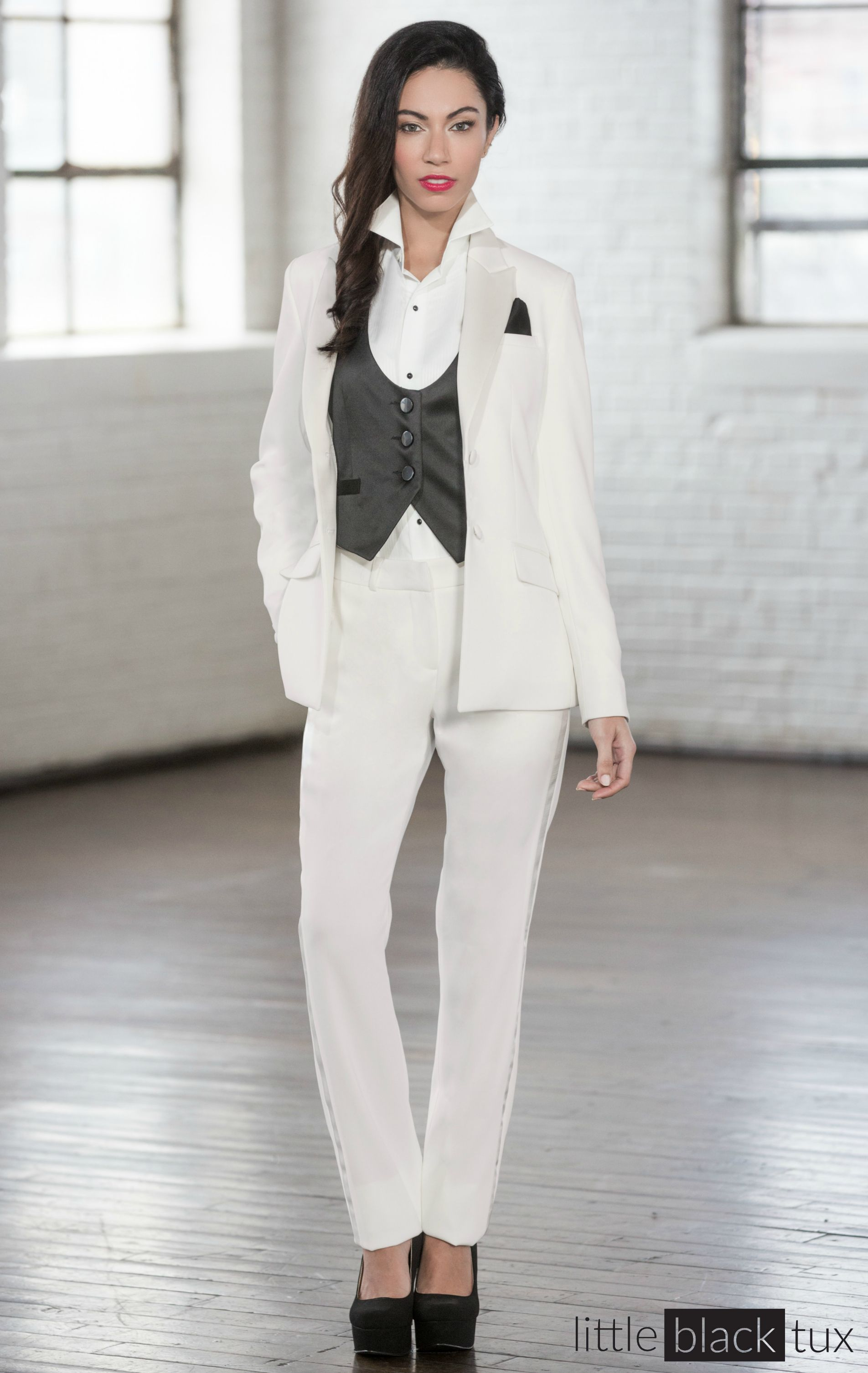 Women\'s Ivory Diamond White Tuxedo Pants / Ladytux. slim fit, belt ...