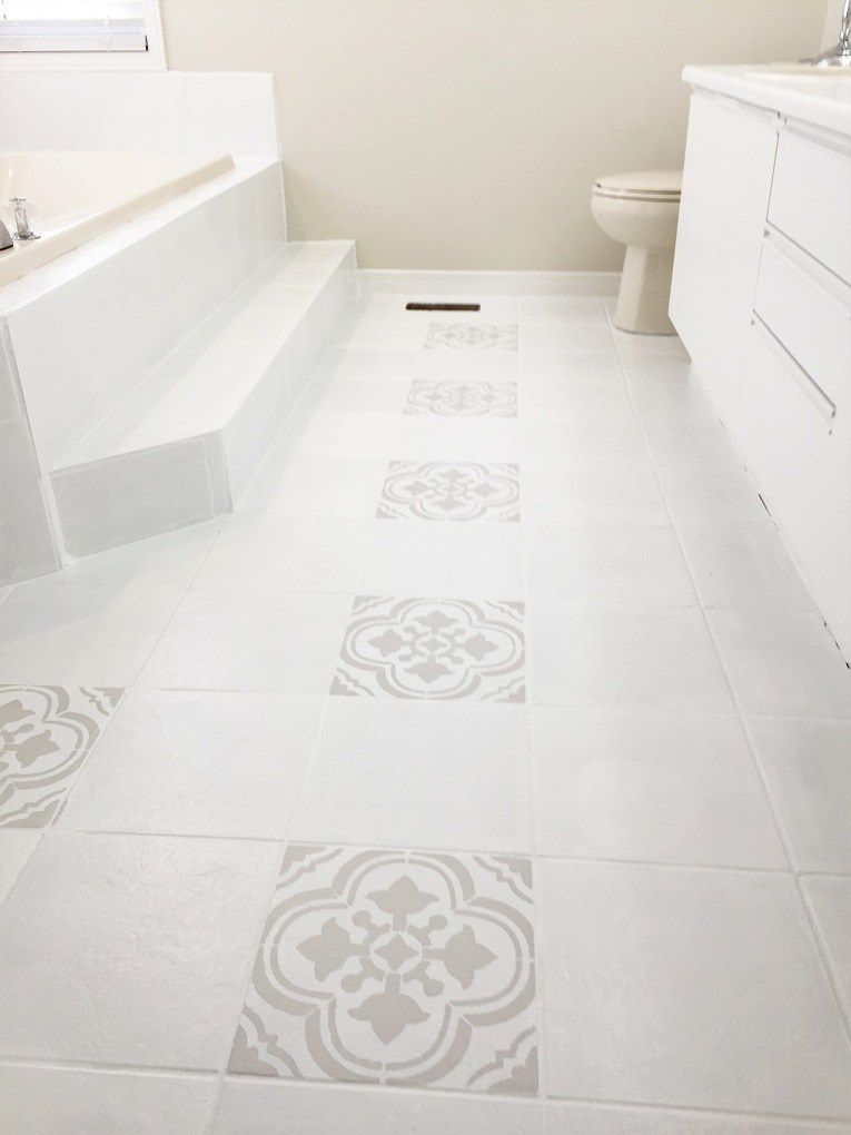 How I Painted And Stenciled My Old Outdated Tile Floor Tile Floor Painting Ceramic Tile Floor Painting Tile Floors