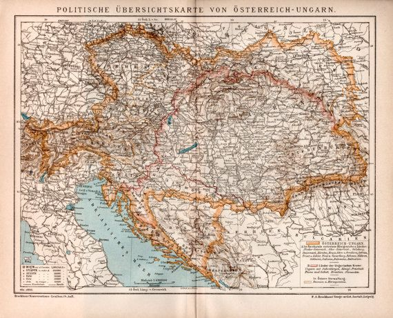 Railway Map AustroHungarian Empire Antique By Craftissimo - Map of austria hungary 1900 1907