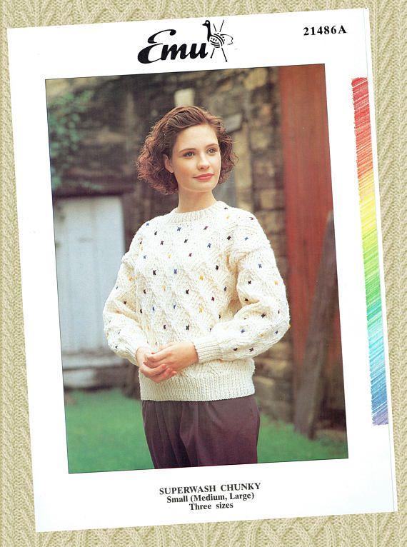 Original Modern Womens Ladies Aran Knitting Pattern Emu 21486a