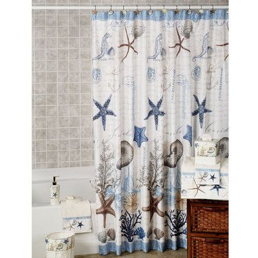Antigua Starfish Coastal Shower Curtain Beach Bathroom Decor