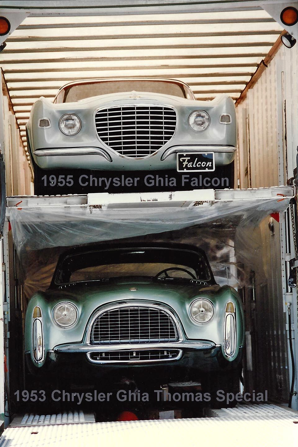 1955 Chrysler Ghia Falcon & 1953 Chrysler Thomas Special being delivered to the …
